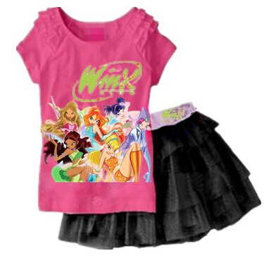 2-6 years- winx club Pink t-shirt with short black skirt islamabad online shop