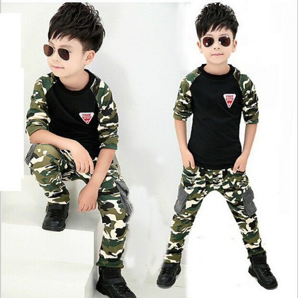 2 to 8 years- black Boy Chinese trendy Printed shirt and Pants outfits islamabad online shop