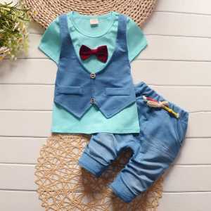 9 month - 4 years Boys Green T-shirt, Blue waist coat & trouser for summer islamabad online shop