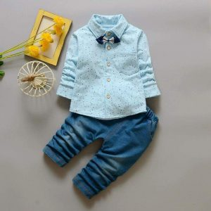 Korean Cotton Sky Blue Paint Bow Collar Suit Shirt & trouser - Islamabad