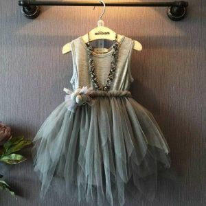 1-6 years - Dark Gray waterfall Frock for Spring/Summer islamabad online shop