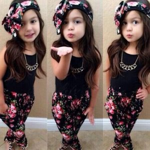 1-7 years - Spring/Summer Printed headband, trouser and black top islamabad online shop