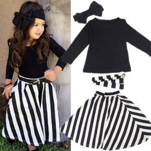 1-7 years - Party outfit plain black headband, top and long skirt islamabad online shop