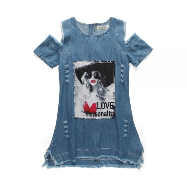 4-9 years - Jeans style Off shoulder Top_Spring/Summer islamabad online shop