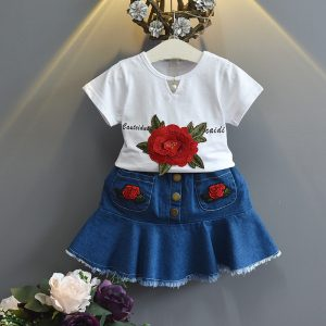 1-6 years Girl Cotton Rose Applique Shirt & Jeans Shorts - Islamabad