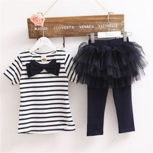 4-6 years - Spring/Summer_ Black stripe Top and flares tights