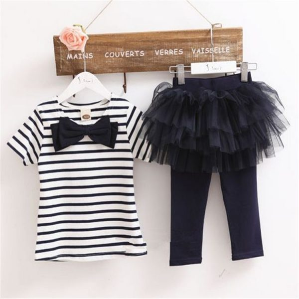 180M-6 years - Spring/Summer_ Black stripe Top and flares tights islamabad online shop