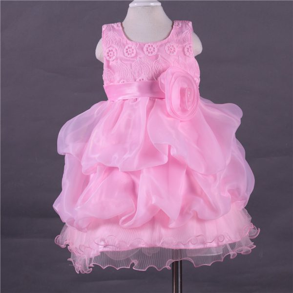 4-12 years - Spring/Summer_ pink formal wear laced Frock islamabad online shop