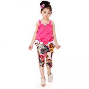 4-11 years-classy kids girls clothing pink printed pants+ single strap Top islamabad online shop