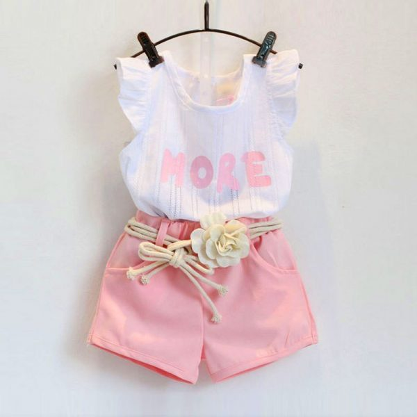 1- 6 years summer toddler girl clothes style (baby+kids) stylish blouse+shorts+flower belt islamabad online shop