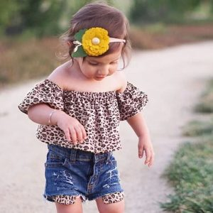 9 months - 5 years Ins hot style 2018 new girl suit, leopard print collar and denim shorts, 2 pieces