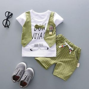 9 month - 4 years TUXEDO PRINTED VEST STYLE T-SHIRT & LONG SHORTS SET - Green