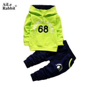1-5 years Green Autumn Baby Clothing Sets Children Boys Girls Fashion Brand Clothes Kids Hooded T-shirt And Pants 2 Pcs Suits